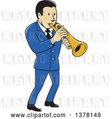 Vector Clip Art of Retro Cartoon Male Musician Playing a Trumpet and Wearing a Blue Suit by Patrimonio