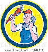 Vector Clip Art of Retro Cartoon Male Plumber Holding a Monkey Wrench and Taking a Call in a Circle by Patrimonio