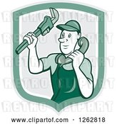 Vector Clip Art of Retro Cartoon Male Plumber Holding a Monkey Wrench and Taking a Call in a Green Shield by Patrimonio