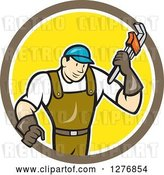 Vector Clip Art of Retro Cartoon Male Plumber Holding a Monkey Wrench in a Brown White and Yellow Circle by Patrimonio