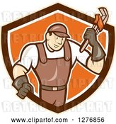Vector Clip Art of Retro Cartoon Male Plumber Holding a Monkey Wrench in a Tan Brown White and Orange Shield by Patrimonio