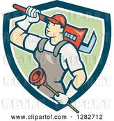 Vector Clip Art of Retro Cartoon Male Plumber with a Giant Monkey Wrench and a Plunger in a Blue White and Green Shield by Patrimonio