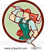 Vector Clip Art of Retro Cartoon Male Plumber with a Giant Monkey Wrench and a Plunger in a Brown White and Green Circle by Patrimonio