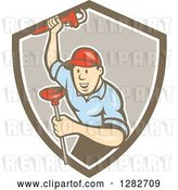 Vector Clip Art of Retro Cartoon Male Plumber with a Monkey Wrench and a Plunger in a Brown and White Shield by Patrimonio