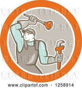 Vector Clip Art of Retro Cartoon Male Plumber with a Plunger and Monkey Wrench in an Orange White and Taupe Circle by Patrimonio