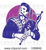 Vector Clip Art of Retro Cartoon Male Scotsman Bagpiper Emerging from a Purple Circle by Patrimonio