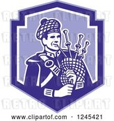 Vector Clip Art of Retro Cartoon Male Scotsman Bagpiper in a Blue Shield by Patrimonio