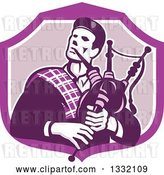 Vector Clip Art of Retro Cartoon Male Scotsman Bagpiper in a Purple and White Shield by Patrimonio