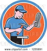 Vector Clip Art of Retro Cartoon Male Shoe Maker Cobbler Working in a Blue White and Orange Circle by Patrimonio