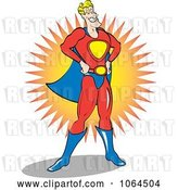 Vector Clip Art of Retro Cartoon Male Super Hero Smiling by Andy Nortnik