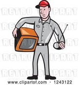 Vector Clip Art of Retro Cartoon Male Television Technician Holding a Tv and Antenna by Patrimonio
