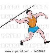 Vector Clip Art of Retro Cartoon Male Track and Field Javelin Thrower by Patrimonio