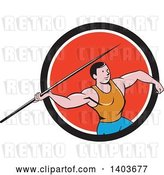 Vector Clip Art of Retro Cartoon Male Track and Field Javelin Thrower in a Black White and Red Circle by Patrimonio