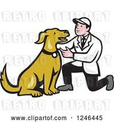 Vector Clip Art of Retro Cartoon Male Veterinarian Kneeling and Looking at a Dog by Patrimonio