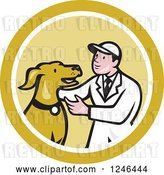 Vector Clip Art of Retro Cartoon Male Veterinarian Kneeling and Looking at a Dog in a Circle by Patrimonio