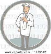 Vector Clip Art of Retro Cartoon Male Veterinarian or Doctor in a City Circle by Patrimonio