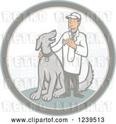 Vector Clip Art of Retro Cartoon Male Veterinarian with a Dog in a City Circle by Patrimonio
