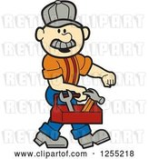 Vector Clip Art of Retro Cartoon Male White Handyman Carrying a Tool Box by Andy Nortnik