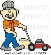Vector Clip Art of Retro Cartoon Male White Handyman with a Lawn Mower by Andy Nortnik