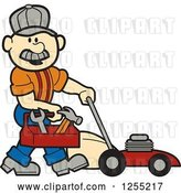 Vector Clip Art of Retro Cartoon Male White Handyman with a Tool Box and Lawn Mower by Andy Nortnik