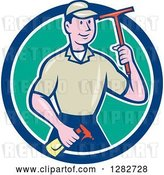 Vector Clip Art of Retro Cartoon Male Window Washer Holding a Spray Bottle and Squeegee in a Blue White and Turquoise Circle by Patrimonio