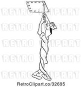 Vector Clip Art of Retro Cartoon Male Worker Twisting His Body to Unscrew by Picsburg