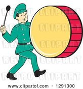 Vector Clip Art of Retro Cartoon Marching Band Drummer Guy by Patrimonio
