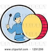 Vector Clip Art of Retro Cartoon Marching Band Drummer Guy Emerging from a Black White and Blue Circle by Patrimonio