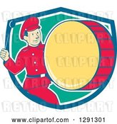 Vector Clip Art of Retro Cartoon Marching Band Drummer Guy Emerging from a Blue White and Turquoise Shield by Patrimonio