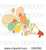 Vector Clip Art of Retro Cartoon Megaphone Bullhorn with Patterned Splashes by BNP Design Studio
