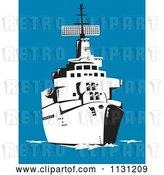 Vector Clip Art of Retro Cartoon Military Battleship at Sea by Patrimonio