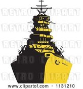 Vector Clip Art of Retro Cartoon Military Battleship in Yellow and Black by Patrimonio