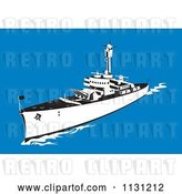 Vector Clip Art of Retro Cartoon Military Battleship with Big Guns at Sea by Patrimonio