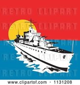 Vector Clip Art of Retro Cartoon Military Battleship with Big Guns at Sunset by Patrimonio