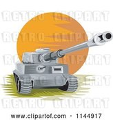 Vector Clip Art of Retro Cartoon Military Tank 1 by Patrimonio