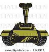 Vector Clip Art of Retro Cartoon Military Tank 3 by Patrimonio