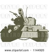 Vector Clip Art of Retro Cartoon Military Tank 4 by Patrimonio