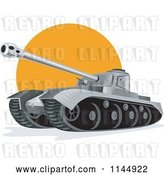 Vector Clip Art of Retro Cartoon Military Tank 6 by Patrimonio