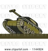Vector Clip Art of Retro Cartoon Military Tank 7 by Patrimonio