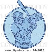 Vector Clip Art of Retro Cartoon Mono Line Styled Male Baseball Player Batting in a Circle by Patrimonio