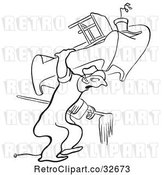Vector Clip Art of Retro Cartoon Mover Carrying Furniture by Picsburg