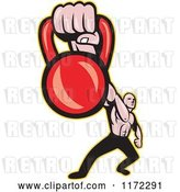 Vector Clip Art of Retro Cartoon Muscular Guy Holding out a Kettlebell by Patrimonio