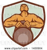 Vector Clip Art of Retro Cartoon Muscular Male Bodybuilder Athlete Lifting a Kettlebell in a Shield by Patrimonio