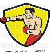 Vector Clip Art of Retro Cartoon Muscular Male Boxer Jabbing in a Black White and Yellow Shield by Patrimonio
