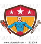 Vector Clip Art of Retro Cartoon Muscular Male Super Hero Holding Spanner and Monkey Wrenches and Emerging from a Shield by Patrimonio