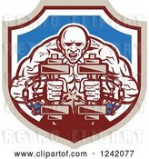 Vector Clip Art of Retro Cartoon Muscular Strongman Working out with Chains and Dumbbells in a Shield by Patrimonio