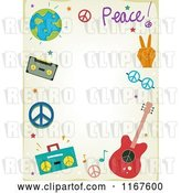 Vector Clip Art of Retro Cartoon Music and Peace Background with Copyspace by BNP Design Studio