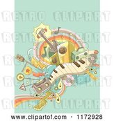 Vector Clip Art of Retro Cartoon Music Background with Instruments and Transportation Doodles on Green by BNP Design Studio