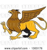 Vector Clip Art of Retro Cartoon Mythical Griffin Creature Walking by Patrimonio