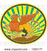 Vector Clip Art of Retro Cartoon Mythical Griffin Creature Walking in an Oval of Rays by Patrimonio